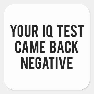 Your IQ test came back negative. Square Sticker