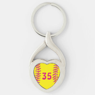 Your Jersey Number Heart Softball Keychains