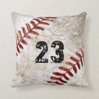 Your Jersey Number, Monogram Dirty Baseball Pillow