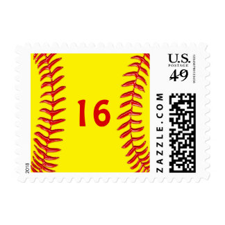 Your Jersey Number or Monogram Softball Stamps
