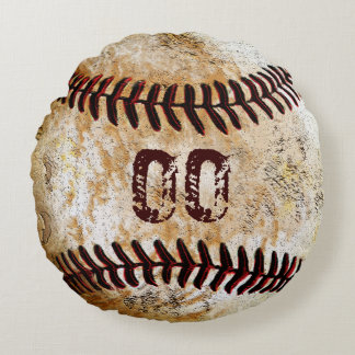 Your JERSEY NUMBER Round Vintage Baseball Pillows