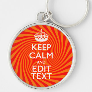 Your Keep Calm Saying on Vibrant Orange Swirl Keychain