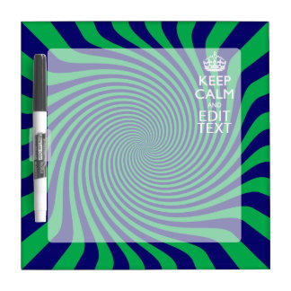 Your Keep Calm Text in Blue Green Swirl Decor Dry-Erase Board