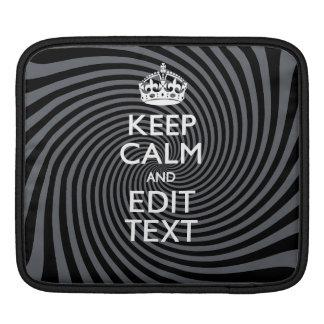 Your Keep Calm Text on Classy Swirl Decor iPad Sleeve