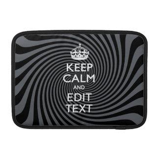 Your Keep Calm Text on Classy Swirl Decor Sleeve For MacBook Air