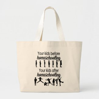 Your Kids Before and After Homeschooling Large Tote Bag