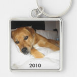 Your large Square template Silver-Colored Square Keychain