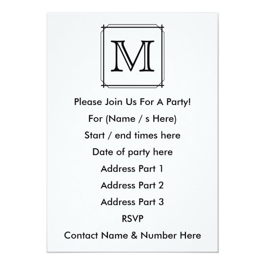 Your Letter. Black and White Monogram. Card