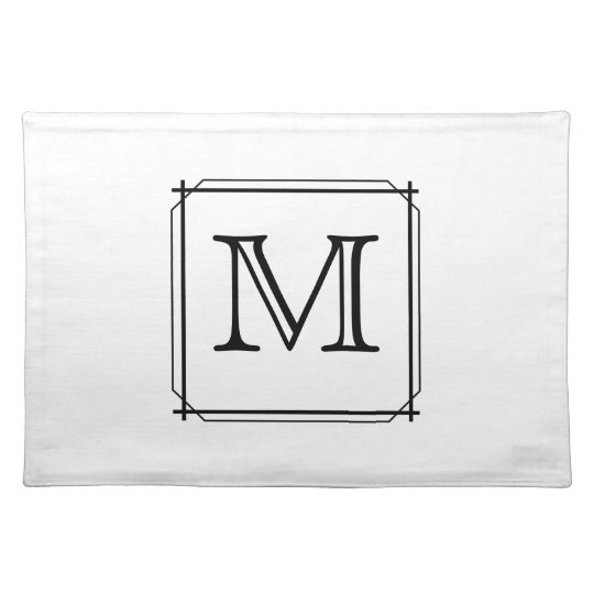 Your Letter. Black and White Monogram. Cloth Placemat