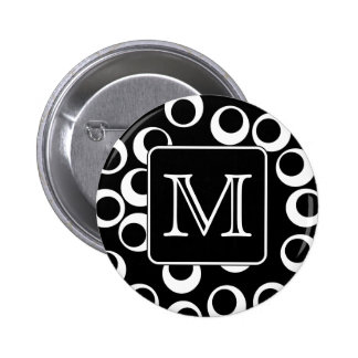 Your Letter. Black and White Monogram. Fun Pattern 2 Inch Round Button