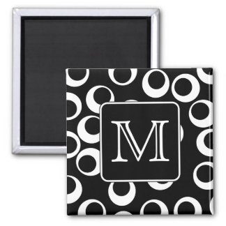 Your Letter. Black and White Monogram. Fun Pattern 2 Inch Square Magnet
