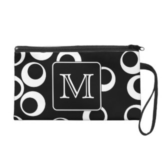 Your Letter. Black and White Monogram. Fun Pattern Wristlet Purses