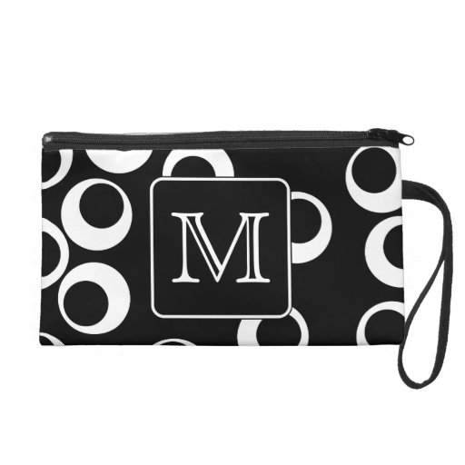 Your Letter. Black and White Monogram. Fun Pattern Wristlets