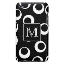 Your Letter. Black and White Monogram. Fun Pattern Barely There iPod Case