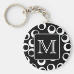 Your Letter. Black and White Monogram. Fun Pattern Basic Round Button Keychain