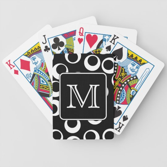 Your Letter. Black and White Monogram. Fun Pattern Bicycle Playing Cards