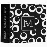 Your Letter. Black and White Monogram. Fun Pattern Vinyl Binders