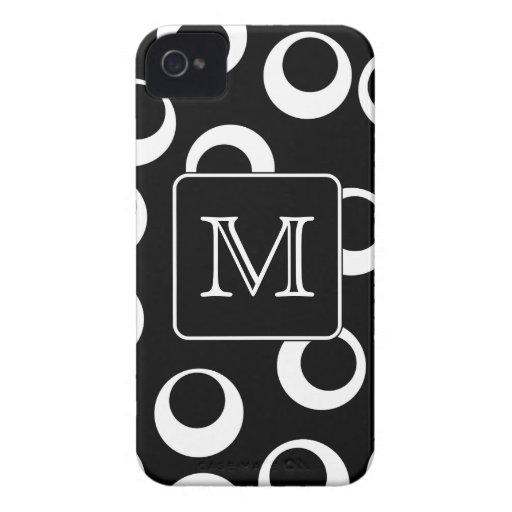 Your Letter. Black and White Monogram. Fun Pattern iPhone 4 Cover