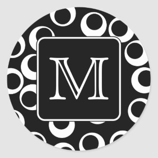 Your Letter. Black and White Monogram. Fun Pattern Classic Round Sticker