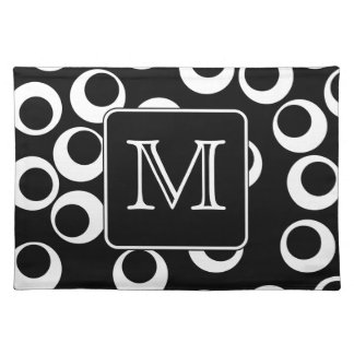 Your Letter. Black and White Monogram. Fun Pattern Cloth Placemat
