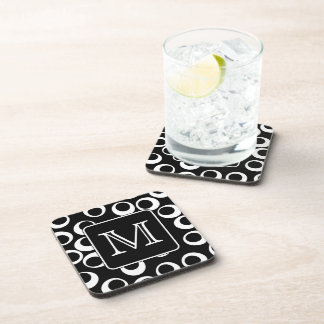Your Letter. Black and White Monogram. Fun Pattern Coaster