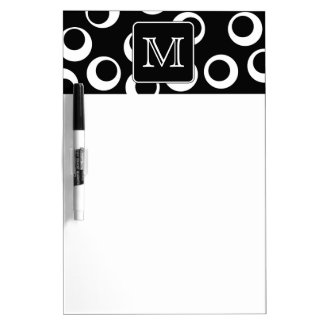 Your Letter. Black and White Monogram. Fun Pattern Dry-Erase Whiteboards