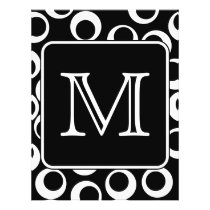 Your Letter. Black and White Monogram. Fun Pattern Flyer