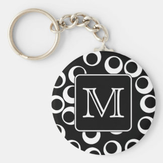 Your Letter. Black and White Monogram. Fun Pattern Keychain