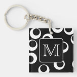 Your Letter. Black and White Monogram. Fun Pattern Square Acrylic Keychain