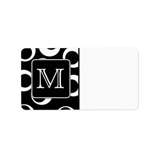 Your Letter. Black and White Monogram. Fun Pattern Label