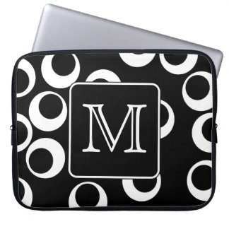Your Letter. Black and White Monogram. Fun Pattern Laptop Sleeves
