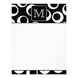 Your Letter. Black and White Monogram. Fun Pattern Letterhead