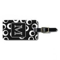 Your Letter. Black and White Monogram. Fun Pattern Luggage Tag