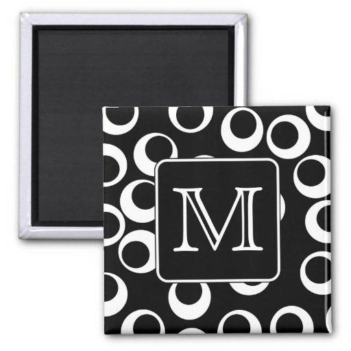 Your Letter. Black and White Monogram. Fun Pattern Fridge Magnet