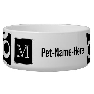 Your Letter. Black and White Monogram. Fun Pattern Dog Bowls