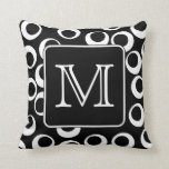 Your Letter. Black and White Monogram. Fun Pattern Throw Pillow