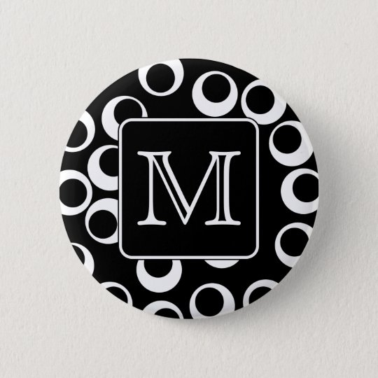 Your Letter. Black and White Monogram. Fun Pattern Pinback Button