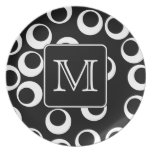 Your Letter. Black and White Monogram. Fun Pattern Party Plate