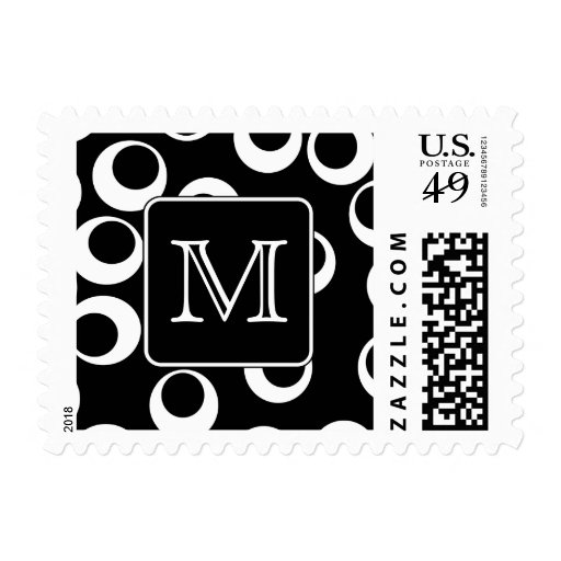 Your Letter. Black and White Monogram. Fun Pattern Postage Stamps