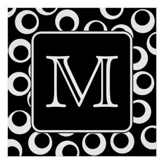 Your Letter. Black and White Monogram. Fun Pattern Print