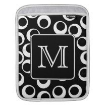 Your Letter. Black and White Monogram. Fun Pattern Sleeve For iPads