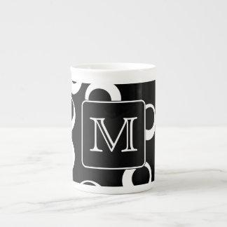 Your Letter Black and White Monogram Fun Pattern Bone China Mug
