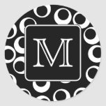 Your Letter. Black and White Monogram. Fun Pattern Round Sticker