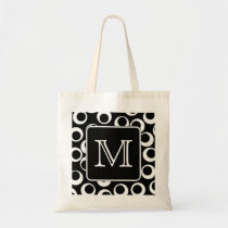 Your Letter. Black and White Monogram. Fun Pattern Tote Bag