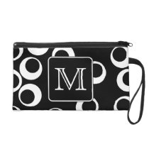 Your Letter. Black and White Monogram. Fun Pattern Wristlet Purse