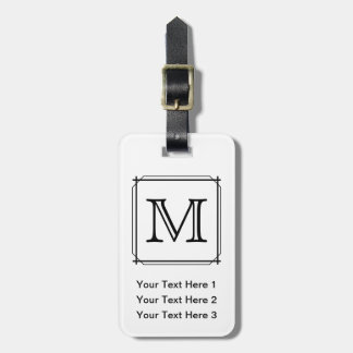 Your Letter. Black and White Monogram. Travel Bag Tags