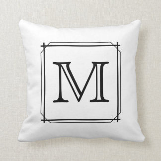 Your Letter. Black and White Monogram. Throw Pillow