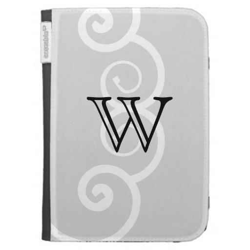 Your Letter. Black / White Swirl Monogram. Custom Kindle 3G Covers