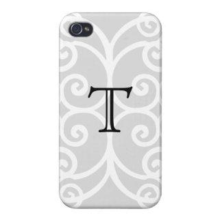 Your Letter. Black / White Swirl Monogram. Custom iPhone 4/4S Cover