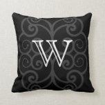 Your Letter. Black / White Swirl Monogram. Custom Pillows
